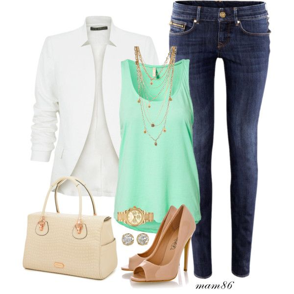 blue-navy-skinny-jeans-green-light-top-tank-white-jacket-blazer-necklace-tan-shoe-pumps-watch-studs-tan-bag-howtowear-fashion-style-outfit-spring-summer-lunch.jpg