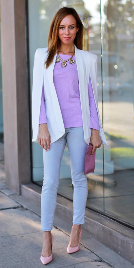 grayl-skinny-jeans-pink-shoe-pumps-purple-light-tee-bib-necklace-hairr-white-jacket-blazer-cape-spring-summer-lunch.jpg