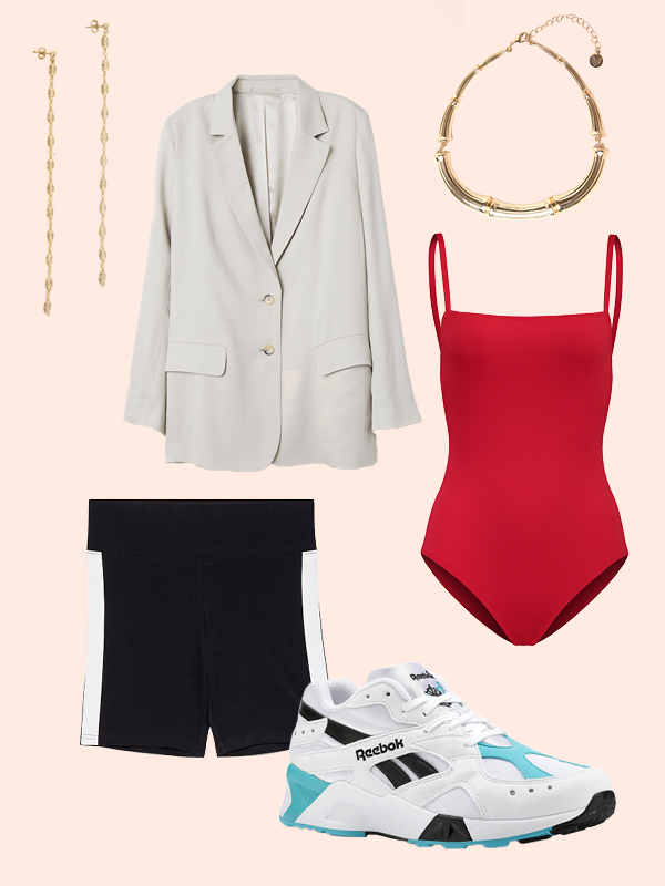 black-shorts-cycling-bike-white-shoe-sneakers-white-jacket-blazer-red-cami-bodysuit-necklace-earrings-dad-sneakers-spring-summer-lunch.jpg