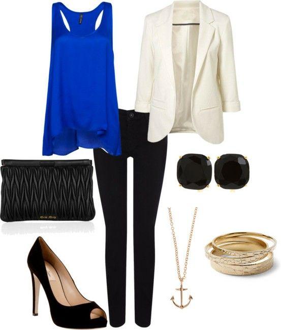 black-skinny-jeans-blue-navy-cami-cobalt-white-jacket-blazer-black-shoe-pumps-necklace-pend-bracelet-studs-spring-summer-dinner.jpg