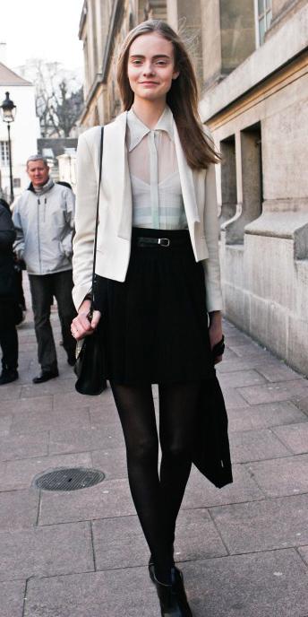 black-mini-skirt-white-top-blouse-sheer-white-jacket-blazer-crop-black-bag-black-tights-black-shoe-booties-belt-wear-style-fashion-fall-winter-hairr-work.jpg