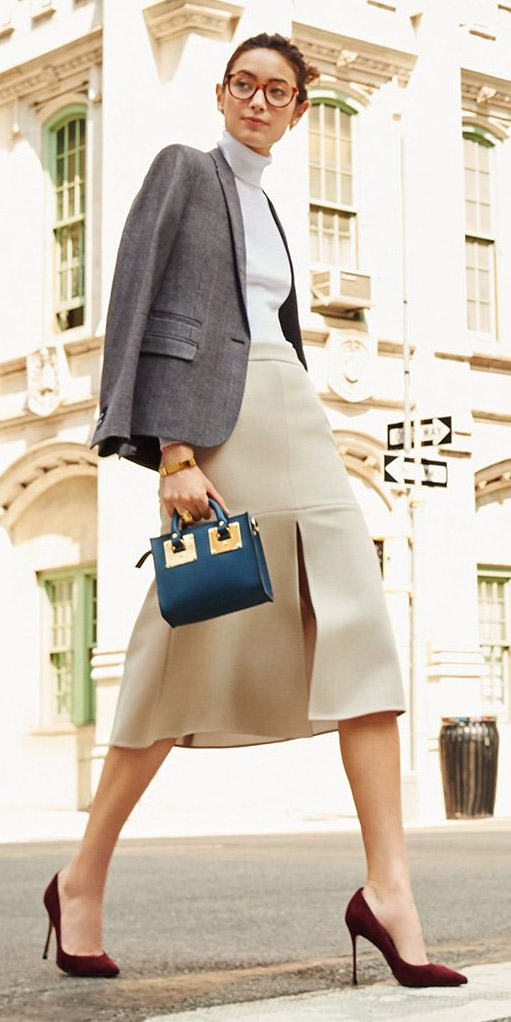 o-tan-midi-skirt-white-sweater-turtleneck-grayl-jacket-blazer-blue-bag-hand-burgundy-shoe-pumps-bun-wear-outfit-fall-winter-brun-work.jpg