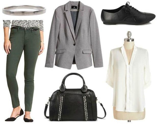green-olive-skinny-jeans-white-top-blouse-grayl-jacket-blazer-black-bag-howtowear-fashion-style-outfit-fall-winter-black-shoe-brogues-bracelet-work.jpg