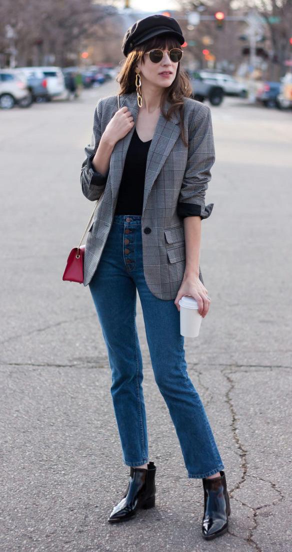 blue-med-skinny-jeans-black-shoe-booties-red-bag-black-tee-grayl-jacket-blazer-plaid-brun-earrings-sun-hat-fall-winter-lunch.jpg