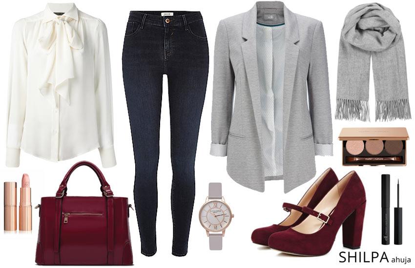 blue-navy-skinny-jeans-white-top-blouse-grayl-jacket-blazer-burgundy-shoe-pumps-burgundy-bag-watch-grayl-scarf-fall-winter-work.jpg