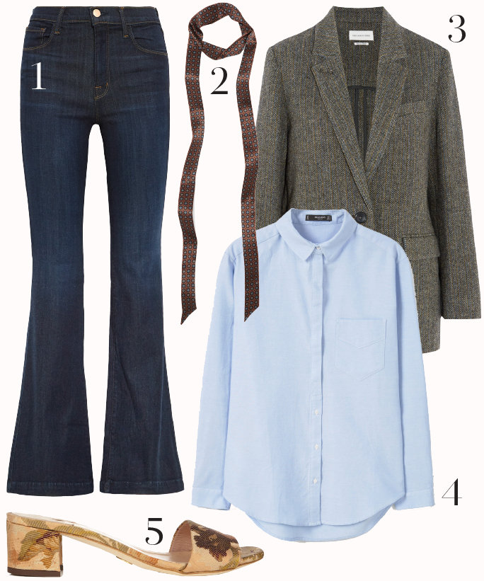 blue-navy-flare-jeans-blue-light-collared-shirt-grayl-jacket-blazer-boyfriend-skinny-scarf-tan-shoe-sandalh-style-outfit-fall-winter-slides-work.jpg