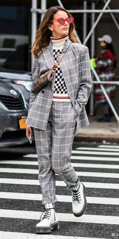 grayl-slim-pants-plaid-print-white-sweater-turtlenck-mixprints-brown-bag-suit-grayl-jacket-blazer-sun-hairr-white-shoe-booties-combat-fall-winter-weekend.jpg