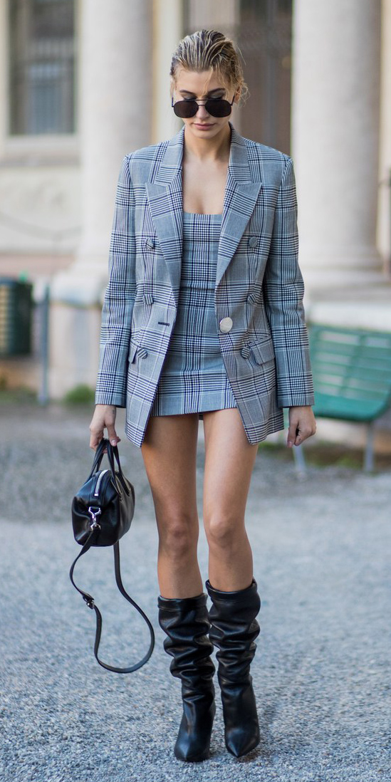 grayl-dress-mini-tweed-plaid-black-shoe-boots-slouchy-bun-sun-black-bag-haileybaldwin-grayl-jacket-blazer-boyfriend-fall-winter-blonde-lunch.jpg