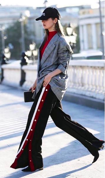 black-wideleg-pants-trackpants-grayl-jacket-blazer-burgundy-top-hairr-hat-cap-black-shoe-booties-fall-winter-lunch.jpg