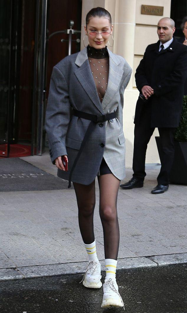 black-tights-socks-white-shoe-sneakers-chunky-black-top-sheer-grayl-jacket-blazer-oversized-belt-hoops-brun-sun-bellahadid-fall-winter-lunch.jpg
