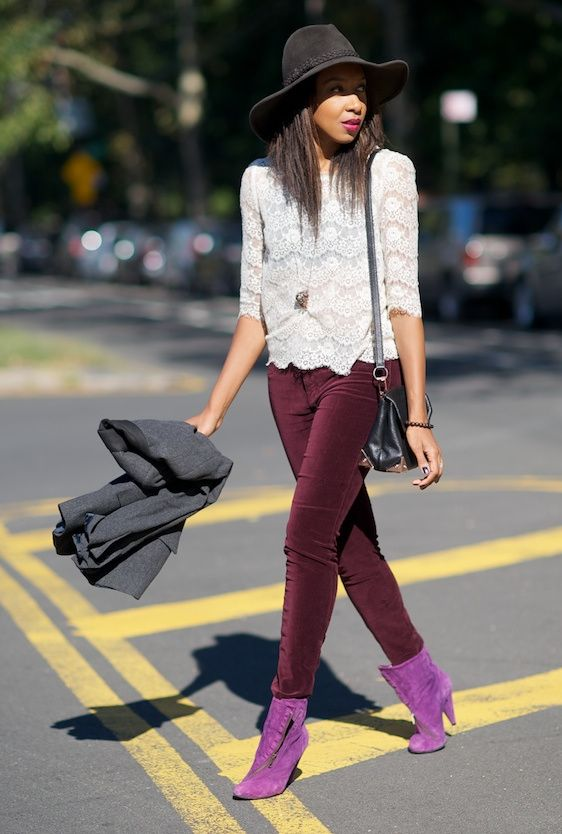 r-burgundy-skinny-jeans-white-top-lace-wear-outfit-fashion-fall-winter-purple-shoe-booties-grayd-jacket-blazer-pend-necklace-hat-black-bag-brun-dinner.jpg