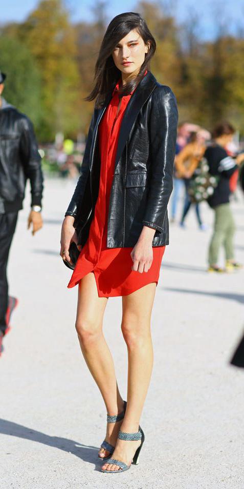 red-dress-shirt-black-jacket-blazer-leather-brun-black-shoe-sandalh-spring-summer-dinner.jpg