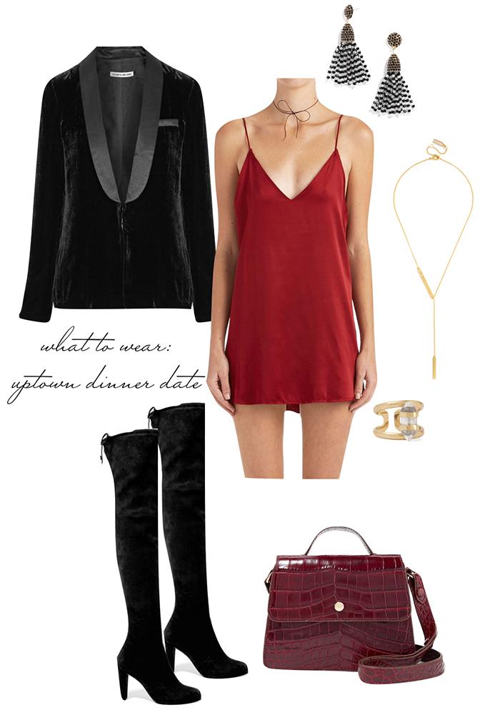 red-dress-slip-black-jacket-blazer-velvet-earrings-burgundy-bag-black-shoe-boots-otk-howtowear-valentinesday-outfit-fall-winter-dinner.jpeg