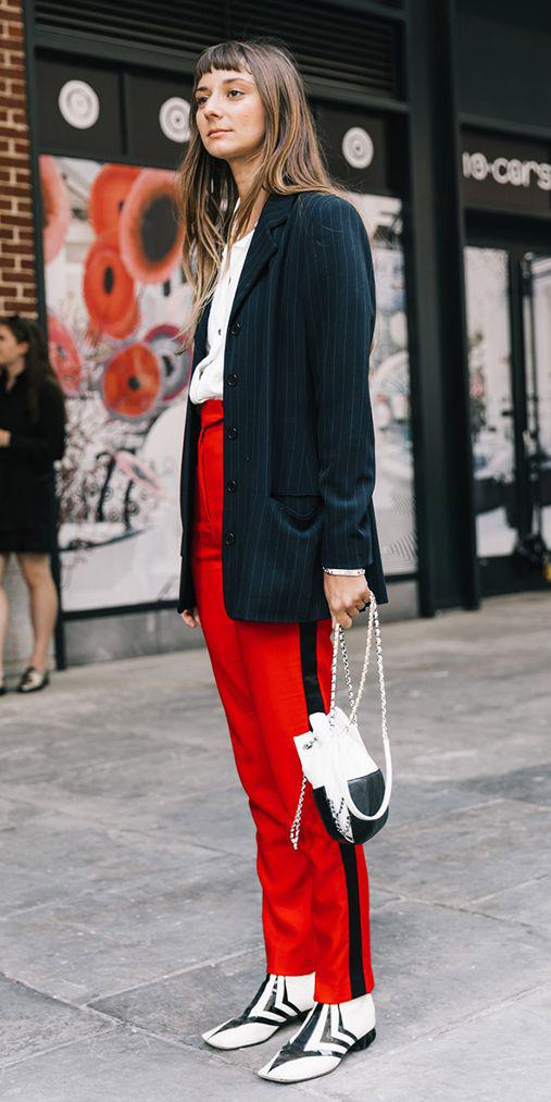 red-slim-pants-white-bag-white-shoe-booties-trackpants-pinstripe-black-jacket-blazer-boyfriend-fall-winter-hairr-lunch.jpg