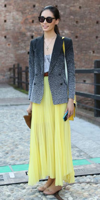 black-jacket-blazer-ombre-pony-brun-sun-yellow-bag-belt-necklace-tan-shoe-flats-yellow-maxi-skirt-fall-winter-lunch.jpg