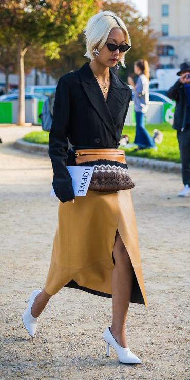 yellow-midi-skirt-white-shoe-pumps-cognac-bag-fannypack-black-jacket-blazer-blonde-bob-sun-fall-winter-lunch.jpg