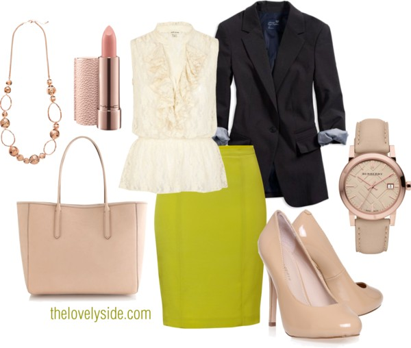 yellow-pencil-skirt-white-top-blouse-black-jacket-blazer-tan-shoe-pumps-watch-necklace-tan-bag-chartreuse-howtowear-fashion-style-outfit-spring-summer-work.jpg