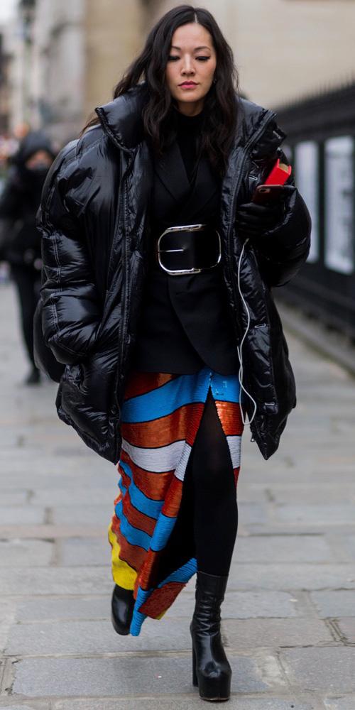 blue-med-maxi-skirt-stripe-sequin-belt-black-jacket-blazer-layer-black-tights-black-shoe-booties-black-jacket-coat-puffer-fall-winter-brun-dinner.jpg