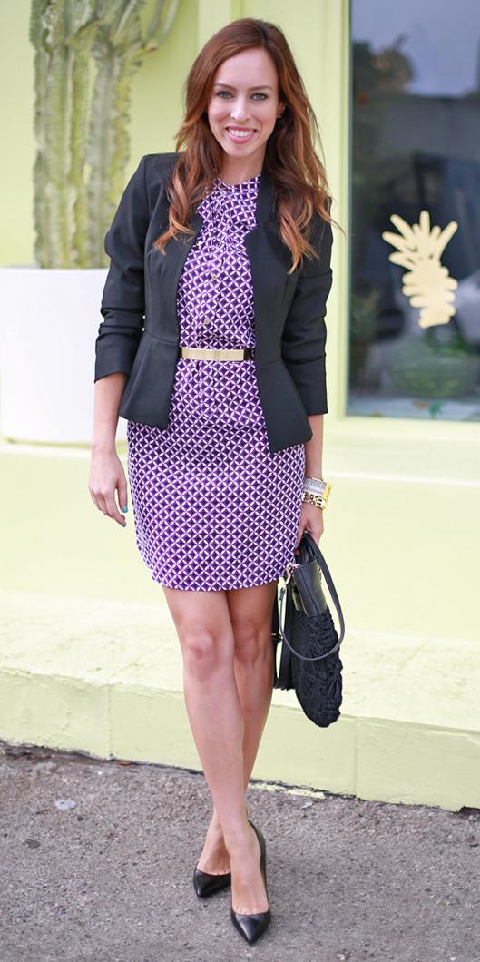 purple-royal-dress-shirt-print-hairr-black-jacket-blazer-black-shoe-pumps-black-bag-spring-summer-work.jpg