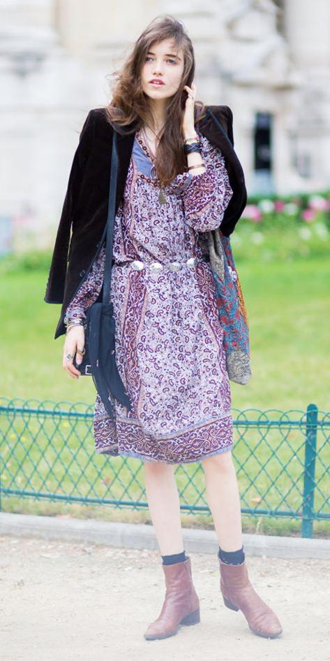 purple-royal-dress-peasant-print-brown-shoe-booties-socks-black-jacket-blazer-boyfriend-fall-winter-hairr-lunch.jpg