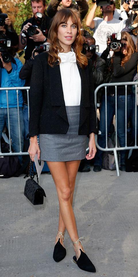 grayl-mini-skirt-white-top-blouse-hairr-alexachung-black-shoe-flats-black-bag-clutch-black-jacket-blazer-spring-summer-dinner.jpg