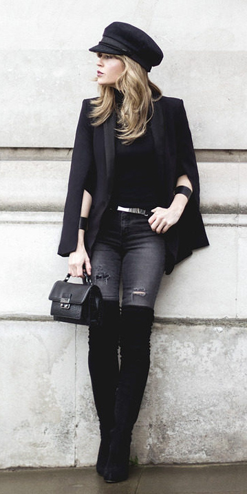 grayd-skinny-jeans-black-sweater-turtleneck-hat-newsboy-black-bag-black-shoe-boots-otk-black-jacket-blazer-cape-fall-winter-blonde-lunch.jpg