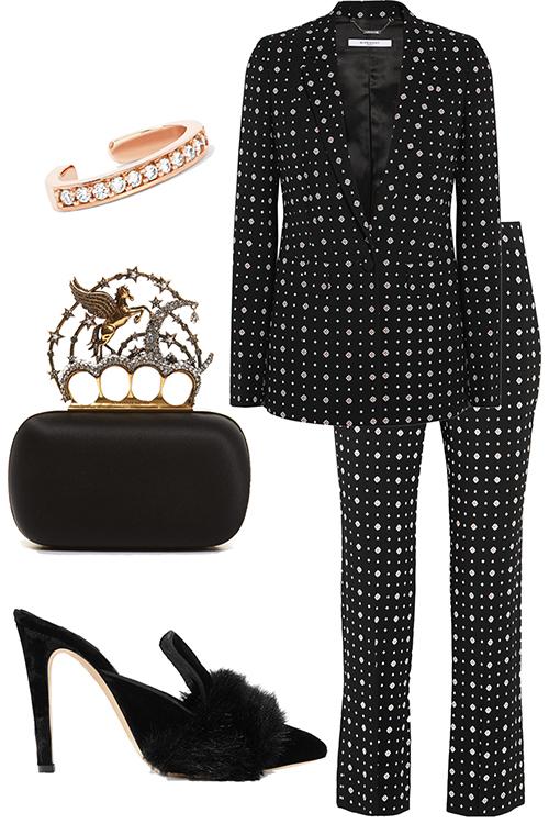 what-to-wear-for-a-winter-wedding-guest-outfit-black-wideleg-pants-suit-black-shoe-pumps-polkadot-black-bag-clutch-black-jacket-blazer-dinner.jpg