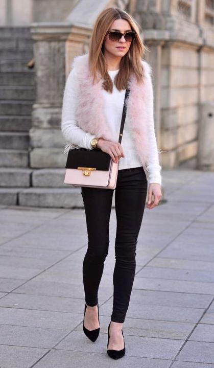 black-skinny-jeans-white-sweater-pink-light-vest-fur-fuzz-pink-bag-sun-black-shoe-pumps-howtowear-fashion-style-outfit-hairr-fall-winter-dinner.jpg