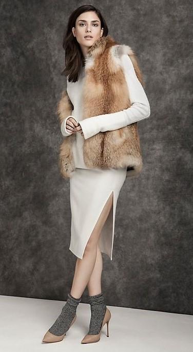 white-dress-sweater-bodycon-tan-vest-fur-brun-socks-tan-shoe-pumps-fall-winter-dinner.jpg