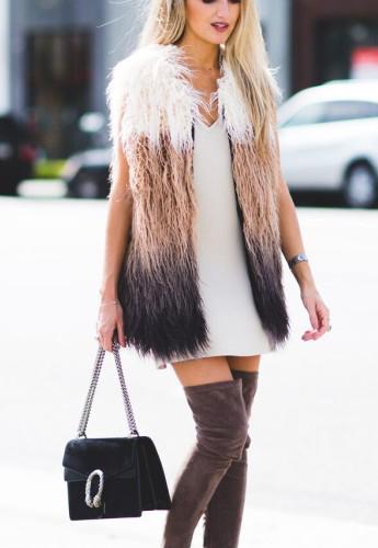 white-dress-tan-vest-fur-brown-shoe-boots-black-bag-howtowear-fashion-style-outfit-fall-winter-slip-knee-fuzz-blonde-dinner.jpeg
