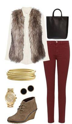 r-burgundy-skinny-jeans-white-top-blouse-tan-vest-fur-tan-shoe-booties-studs-watch-bracelet-black-bag-howtowear-fashion-style-outfit-fall-winter-lunch.jpg