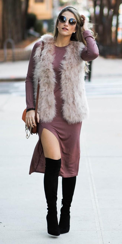 camel-dress-tshirt-tan-vest-fur-hairr-sun-cognac-bag-black-shoe-boots-fall-winter-lunch.jpg