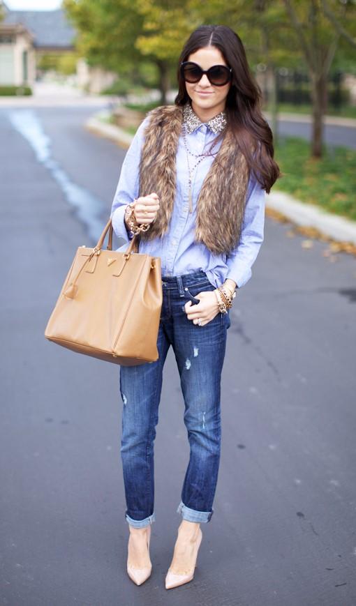 blue-med-boyfriend-jeans-tan-vest-fur-tan-bag-blue-light-collared-shirt-brun-sun-tan-shoe-pumps-fall-winter-lunch.jpg
