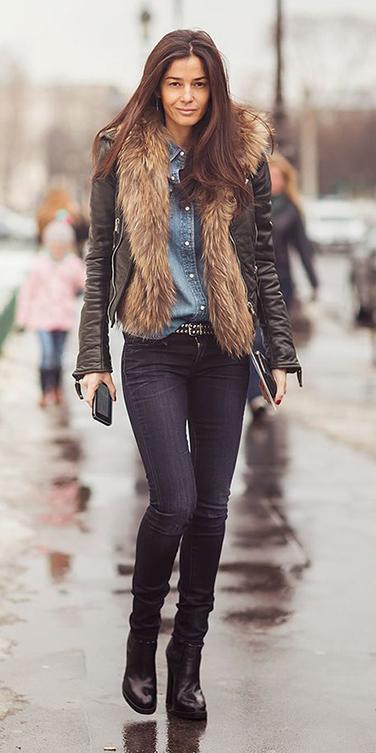 blue-light-collared-shirt-tan-vest-fur-black-jacket-moto-black-shoe-boots-brun-fall-winter-weekend.jpg