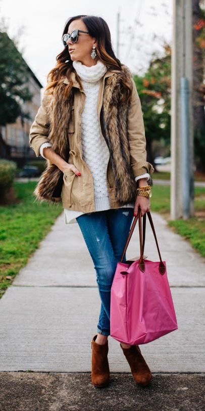 blue-med-skinny-jeans-white-sweater-turtleneck-pink-bag-tote-tan-vest-fur-tan-jacket-utility-hairr-sun-cognac-shoe-booties-fall-winter-lunch.jpg