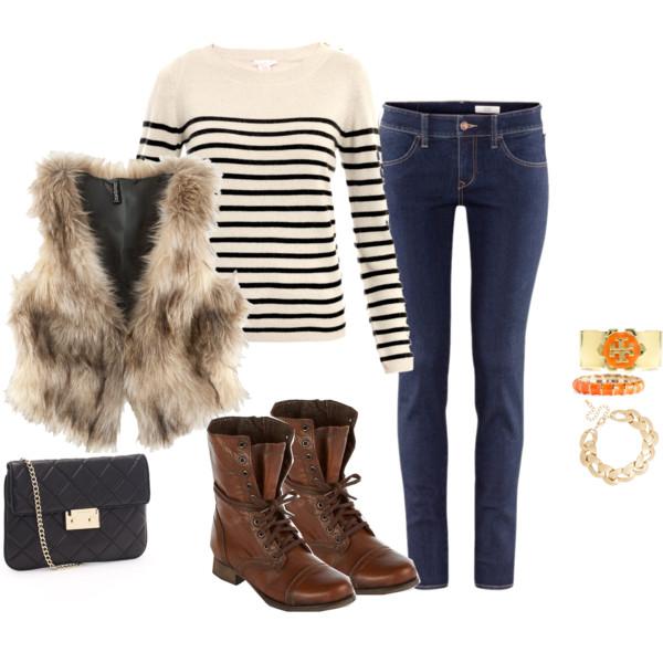 blue-navy-skinny-jeans-white-sweater-stripe-bracelet-brown-shoe-booties-tan-vest-fur-fall-winter-weekend.jpg