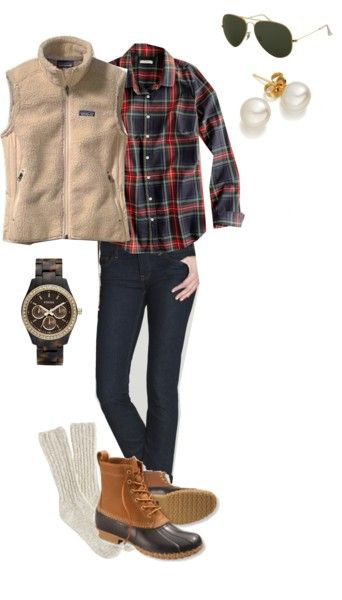 blue-navy-skinny-jeans-red-plaid-shirt-tan-vest-fur-fuzz-socks-watch-pearl-studs-sun-cognac-shoe-booties-howtowear-fashion-style-outfit-fall-winter.jpg