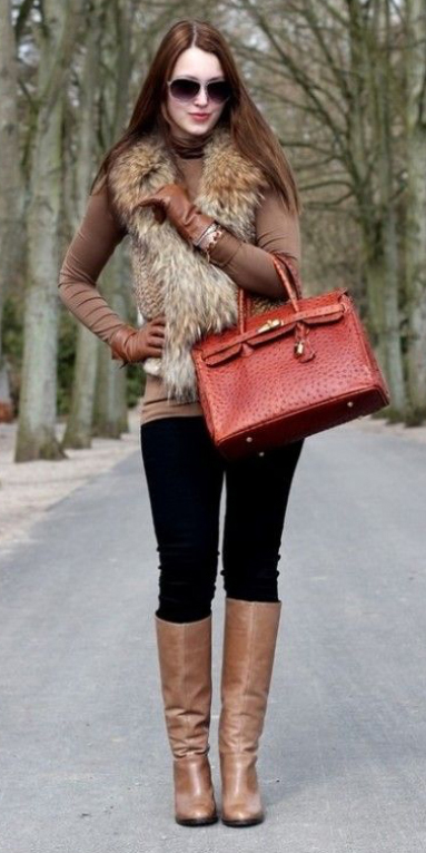 black-skinny-jeans-o-brown-tee-tan-vest-fur-red-bag-howtowear-fashion-style-outfit-fall-winter-turtleneck-gloves-tan-shoe-boots-sun-hairr-lunch.jpg