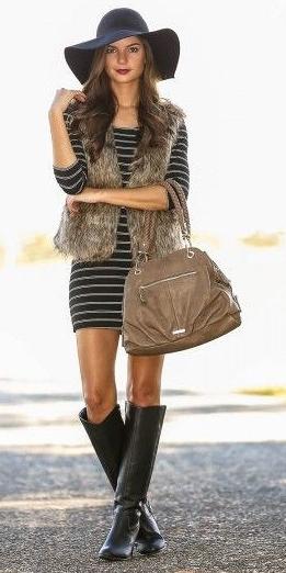 black-dress-zprint-stripe-tan-vest-fur-black-shoe-boots-tan-bag-sweater-outfit-fall-winter-hat-bodycon-brunette-lunch.jpg