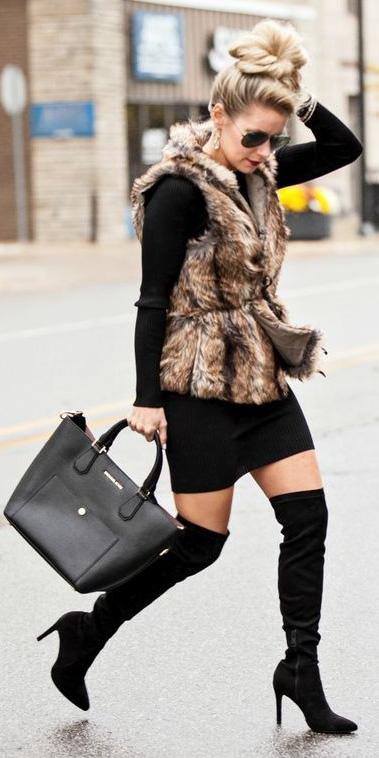 black-dress-sweater-tan-vest-fur-blonde-sun-bun-black-bag-black-shoe-booties-otk-fall-winter-lunch.jpg