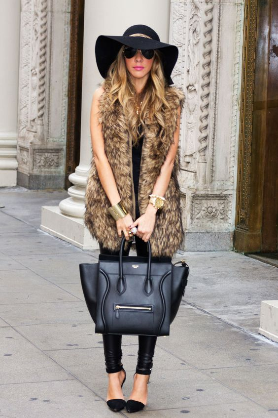 black-leggings-tan-vest-fur-bracelet-blonde-sun-hat-black-bag-tote-black-shoe-pumps-fall-winter-lunch.jpg