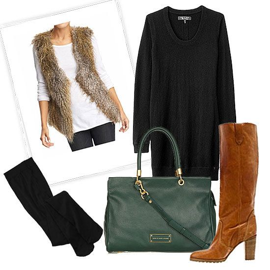 black-dress-tan-vest-fur-cognac-shoe-boots-black-tights-green-bag-hand-howtowear-fashion-style-outfit-fall-winter-basic-sweater-lunch.jpg