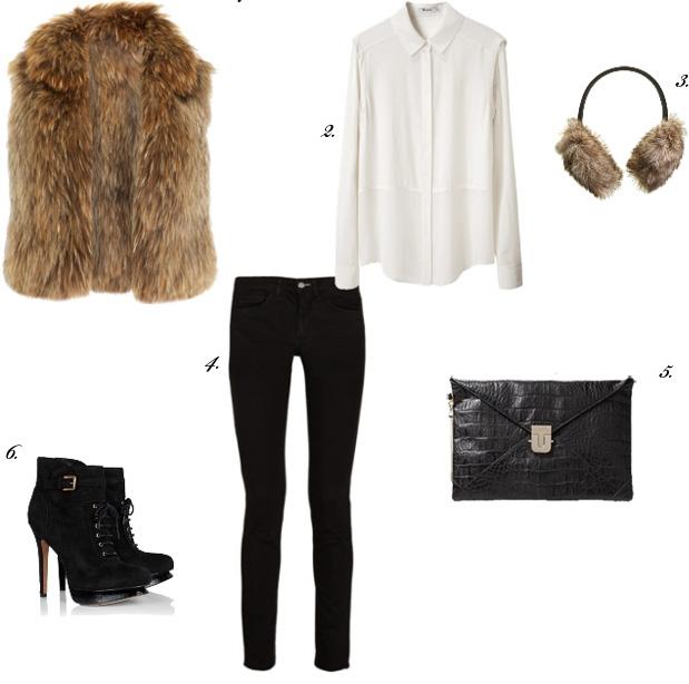 black-skinny-jeans-white-top-blouse-tan-vest-fur-howtowear-fashion-style-outfit-fall-winter-basic-earmuffs-black-bag-clutch-black-shoe-booties-dinner.jpg