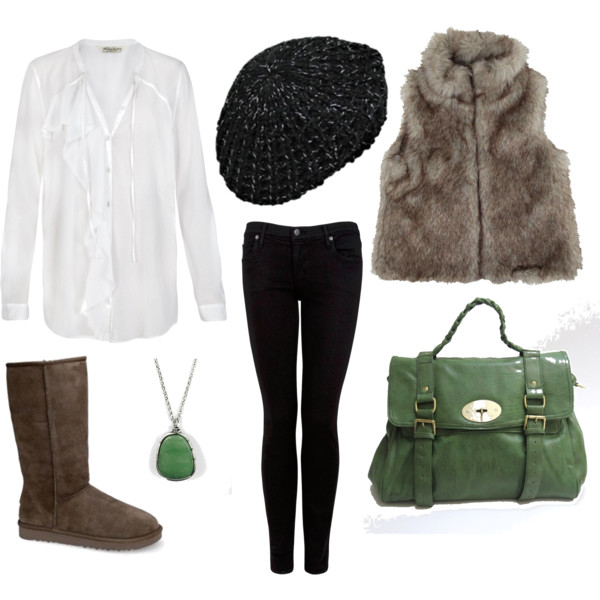 black-skinny-jeans-white-collared-shirt-howtowear-fashion-style-outfit-fall-winter-tan-vest-fur-ugg-tan-shoe-boots-green-bag-necklace-pend-beanie-weekend.jpg