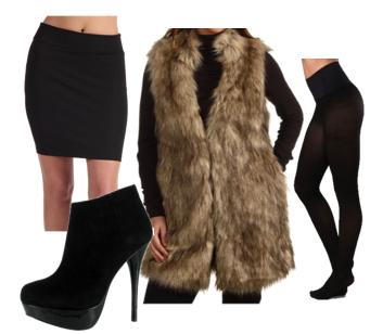 black-mini-skirt-black-tee-tan-vest-fur-black-tights-black-shoe-booties-howtowear-fashion-style-outfit-fall-winter-dinner.jpg