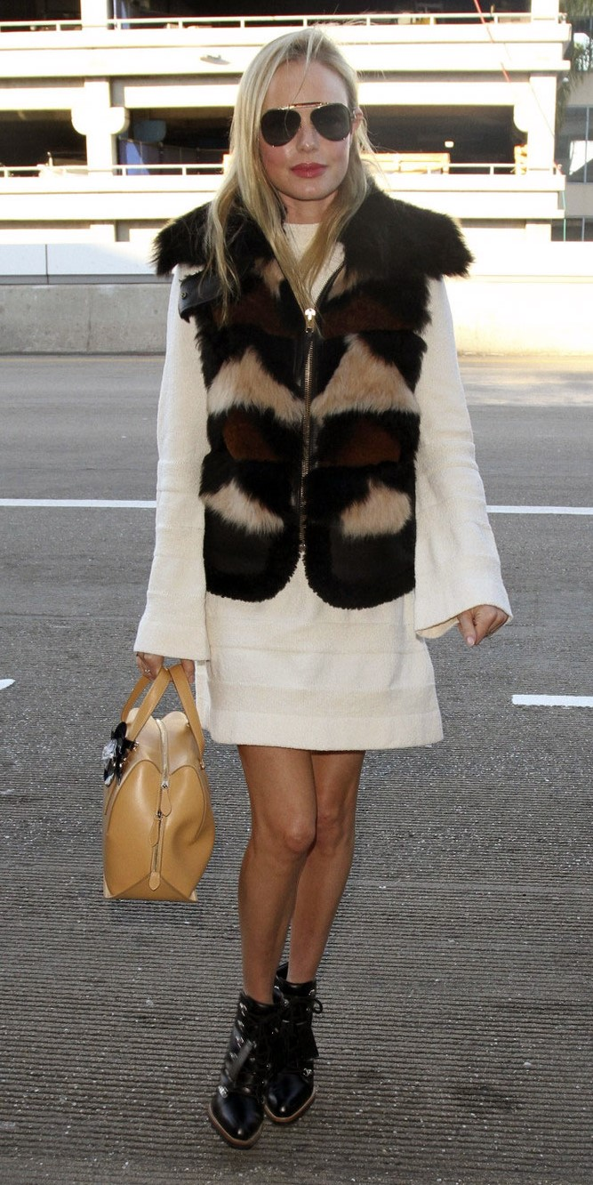 white-dress-sweater-peasant-brown-vest-fur-blonde-sun-tan-bag-black-shoe-booties-katebosworth-fall-winter-lunch.jpg
