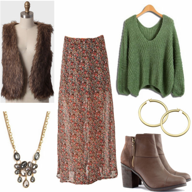 o-tan-maxi-skirt-green-olive-sweater-brown-vest-fur-howtowear-fashion-style-outfit-fall-winter-floral-necklace-hoops-brown-shoe-booties-lunch.jpg