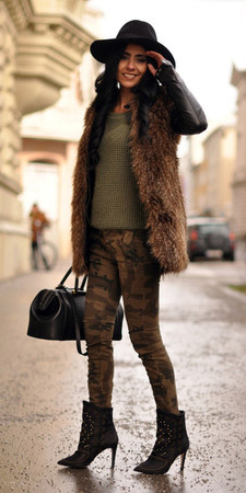 green-olive-skinny-jeans-camo-print-green-olive-sweater-brown-vest-fur-hat-black-bag-black-shoe-booties-fall-winter-brun-lunch.jpg
