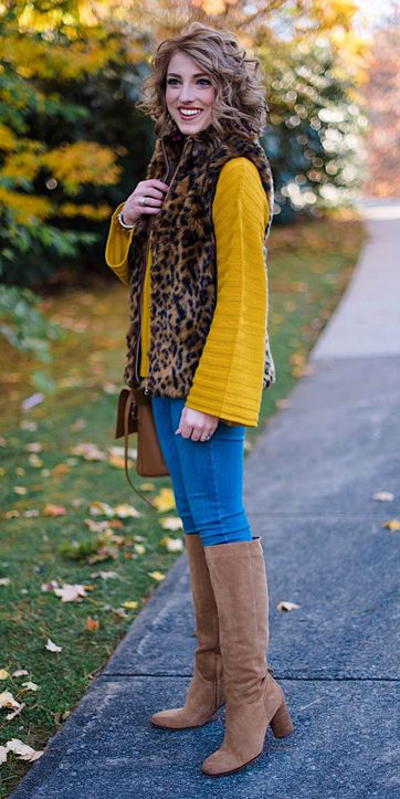 blue-med-skinny-jeans-cognac-shoe-boots-leopard-print-brown-vest-fur-hairr-yellow-sweater-bellsleeve-fall-winter-lunch.jpg