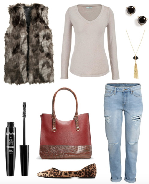 blue-light-boyfriend-jeans-white-tee-brown-vest-fur-tan-shoe-flats-red-bag-howtowear-fashion-style-outfit-fall-winter-leopard-necklace-studs-casual-weekend.jpg